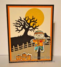 Stampin' Up~ A cute fall card with an adorable scarecrow using the 'Cookie Cutter Halloween' stamp set & coordinating Cookie Cutter Punch!