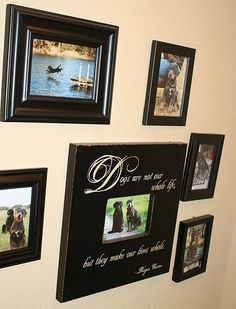 Dog room photo wall.. I def want to put up some photo's of our babies!