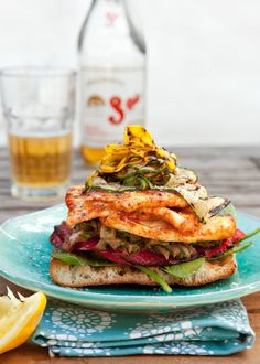 Spicy pan-fried haloumi sandwich, with sweet roasted capsicum,   eggplant pickle and chargrilled zucchini.