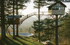 27-летний американец воплотил в реальность свою детскую мечту – построил домик на дереве. Вернее не один, а целых два, соединенных между собой подвесным мостиком. На их возведение потребовался целый год, а весь процесс работы над Treehouse парень заснял на видео.