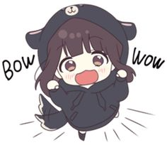 It is a cute sticker of kurumi-chan. Cute Anime Chibi, Me Anime, Cute Anime Pics, Anime Girl Cute, Anime Neko, Beautiful Anime Girl, Kawaii Anime Girl, Anime Art Girl, Gifs Kawaii