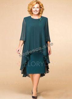 193e9b516f07c8 Plus Size Floral 3/4 Sleeves Midi Shift Dress - Floryday #Dress#Floral