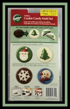 NEW! Wilton ***2 pc CHRISTMAS / HOLIDAY Cookie Candy Mold Set New with insert Jolly Fun Mold, 8 cavities, 2 designs Snowflake Wishes Mold, 8 cavities, 2 designs   Turn store-bought cookies into candy-coated treats!!