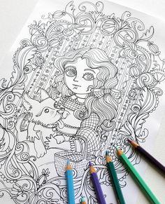 Disegno da colorare JPG  Il Mago di Oz  Dorothy di MrsPeggottyArts