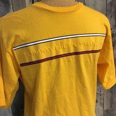 Vtg. Tommy Hilfiger Yellow T-shirt Men Shirt Medium Spell Out Raised Logo  | eBay