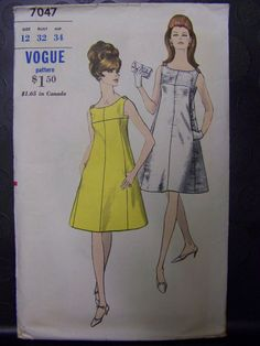 SUPER CHIC 1960s Vogue 7047 Sleeveless A-line Evening Dress Pattern sz 12 COMPLETE by RaggsPatternStash on Etsy