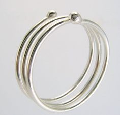 Sterling Silver Thumb Ring Simple Modern Coiled Ball End