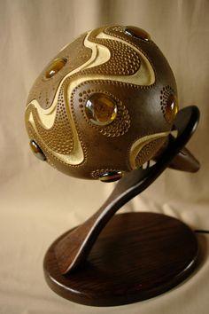 Handmade stirring calabash lamp by CalabashLights on Etsy