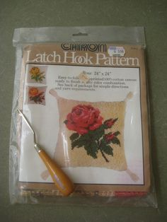 Vintage Latch Hook Kit, Latch Hook Rose Canvas, Caron Kit, Latch Hook Tool, 1970s Craft Kit. $11.50, via Etsy.