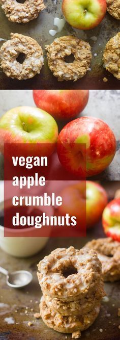 These vegan apple crumble doughnuts are made with a spiced batter studded with juicy apple chunks, and covered with a sweet cinnamon crumple topping.