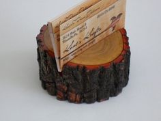 Wooden Live Edge Sassafras Business Card Holder by KentsKrafts