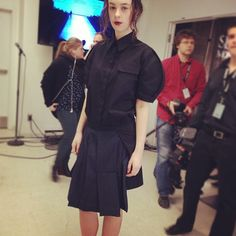 Same model from previous image backstage #matierenoire #mfw24 - @patriciagajo- #webstagram
