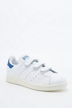Adidas Originals Stan Smith White & Blue Velcro Trainers - Urban Outfitters