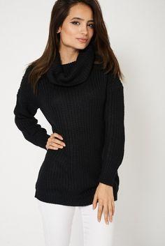 Chunky Knit Roll Neck Long Sleeve Black Womens Jumper
