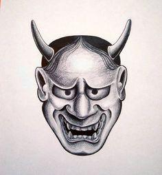 ONI mask                                                       … Japanese Hannya Mask, Japanese Mask, Cat Skull Tattoo, Mask Tattoo, Samurai Tattoo, Yakuza Tattoo, Hannya Maske Tattoo, Birthdate Tattoo, Biblical Tattoos