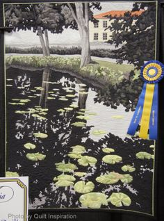 """Where We Met, 43 x 59"""", by Linda C. Anderson. Best Wall Quilt, 2014 Road to California, photo by Quilt Inspiration"""