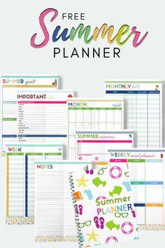 Summer Planner, Kids Planner, Weekly Meal Planner, Free Planner, Budget Planner, Planner Template, Happy Planner, Weekly Goals, Free Printable Planner
