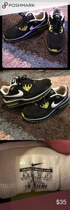 Men's Nike AirMax size 9.5. Great condition. Only worn a couple of times but they do not fit my husband well since he is flat footed. Great shoes. Size 9.5 men's black,white, and highlighter yellow airmax's. Nike Shoes