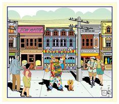 PALHAÇO TOCANDO BUMBO - A ilustração com a arte finalizada e completa, que envolve a figura do palhaço. Numa rua movimentada o palhaço anuncia algo ou faz propaganda de alguma loja. Não coloquei mais pessoas para não caregar a ilustração e poluir a imagem central. Desenho - Ilustração - Illustration - Drawing http://arterocha.blogspot.com.br/