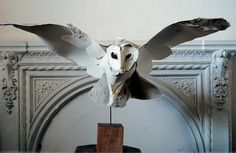 Barn Owl in flight by Anna-Wili Highfield. Created with torn paper hand stiched together (and a bucket load of talent) Paper Art, Paper Crafts, Paper Clay, Hedwig, Paper Birds, Torn Paper, Book Art, Pokemon, Lion Sculpture