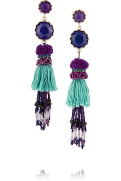 Etro | Tasseled gold-plated, amethyst and lapis earrings | NET-A-PORTER.COM