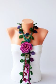 Crochet  necklace scarf , crochet lariat scarf ,crochet jewelry  scarf,gift by SenasShop on Etsy https://www.etsy.com/listing/168143064/crochet-necklace-scarf-crochet-lariat