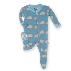 Baby Boy Clothes KicKee Pants Little Boys Footie- Dusty Sky Porcupine, 0-3 Months