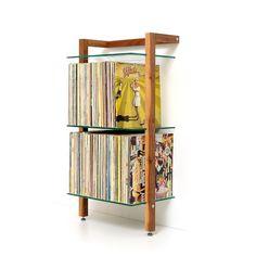 QUADRA Vollholz Schallplatten Regal Nussbaum 3 Glasböden (Diy Storage Shelves)