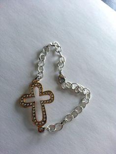 Faith Bracelet  gold cross with crystal detailing by LoveMyssa