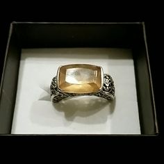 Vintage sterling silver ring Vintage sterling silver ring with yellow /gold stone Jewelry Rings