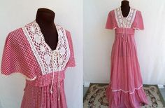 Vintage 70's Maxi Dress Red Gingham with by hipfashionstylist, $65.00