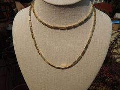 Vintage Monet Necklace, Simple Gold Tone Link Chain. Signed. 30 Inches Long  Ask a Question $14.00 USD