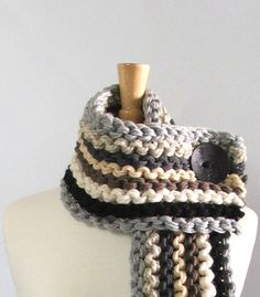Chunky Knit Fringed Cowl Scarf in Silver / Barley / by AMarieKnits, $39.00