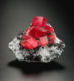 Rhodochrosite (red), with tetrahedrite (bluish), quartz (white), 8 cm tall / Park County, Colorado Cool Rocks, Beautiful Rocks, Minerals And Gemstones, Rocks And Minerals, Rock Collection, Mineral Stone, Rocks And Gems, Stones And Crystals, Gem Stones