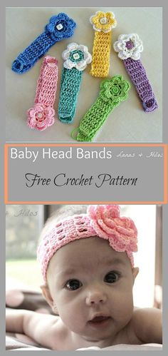crochet headband pattern This Baby Headbands Free Crochet Pattern is great for photo shoots or for everyday styling fun. It can be adjusted to fit any size head. Bandeau Crochet, Crochet Headband Free, Bag Crochet, Crochet Amigurumi, Crochet Bebe, Baby Girl Crochet, Crochet Baby Clothes, Crochet Baby Hats, Crochet For Kids