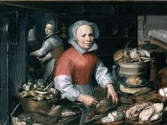 Pieter Aertsen (Dutch Northern Renaissance Painter, c Preparations for a Feast 1550 Dutch Kitchen, Kitchen Art, 17th Century Clothing, Pre Raphaelite, England, 16th Century, Beauty And The Beast, Art History, Medieval