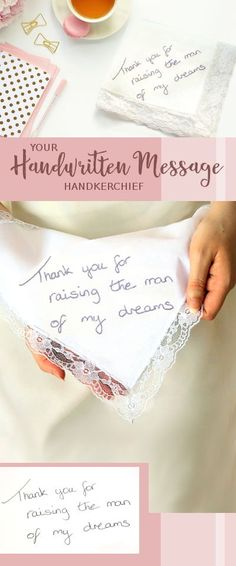 Mother of the Groom gift. Your own handwriting embroidered handkerchief. Thank you for raising the man of my dreams