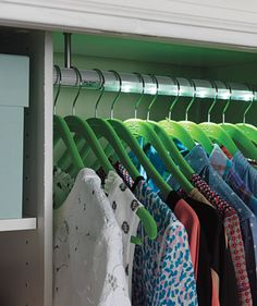 An easy-to-install illuminated rod is the answer for closets with no electricity. Motion activated, it lights up dark corners and turns off on its own after a few minutes.