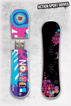 Burton SnowDrive : Feather USB Flash Drive // Action Sport Drives have teamed up with the best snowboard companies in the industry to create the original USB Flash Drive snowboard. We've combined this innovative design with the graphics from actual Burton snowboards like their Feather Model.    Now you can get your favorite snowboard graphics, and transfer files in style.
