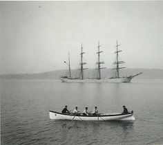 Quatre-mâts- Four-masted bark FORTEVIOT at anchor in Commencement Bay, Tacoma, Washington, ca. Merchant Navy, Floating In Water, Set Sail, Small Boats, Wooden Boats, Tall Ships, Asia Travel, Canoe, Tacoma Washington