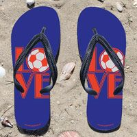 Soccer Love on Blue Mens Flip Flops - Kick back after a soccer game with these great flip flops! Fun and functional flip flops for all soccer players and fans.