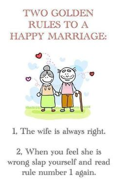 wife is rule home  pic cartoon | Golden rules of a Happy Marriage | Funny Pictures