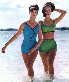 Retro Swimwear, Vintage Swimsuits, Trendy Swimwear, Swimwear Fashion, Women Swimsuits, 1960s Fashion, Vintage Fashion, Vintage Outfits, Vintage Clothing