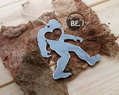 Handcrafted metal BigFoot Sasquatch Rustic Christmas Ornament Metal Yeti Heart Christmas Tree Decoration Holiday Gift Industrial Decor Wedding By BE Creations