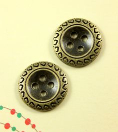 ZIG-ZAG Metal Buttons , Antique Brass Color , 4 Holes , 0.87 inch , 10 pcs by Lyanwood, $5.00
