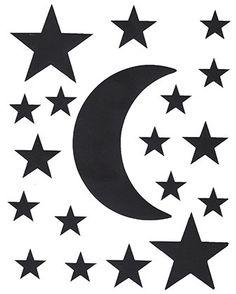 Planche+de+stickers+lune+et+étoiles+