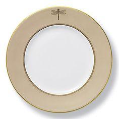"Brides.com: . Preppy Chic ""June Gold"" dinner plate, $38, Kate Spade for Lenox, 800-999-5283."