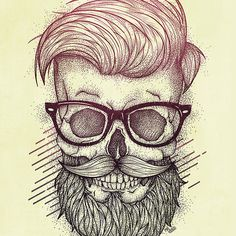 Hipster is Dead, drawing, painting, illustration, digital, ink. retro, vintage, hipster, skull, skulls, skeleton, 90's,