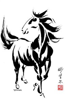 Spontaneous (Xie Yi) style Chinese brush painting on rice paper in honor of Chinese New Year year of the horse by Bill Searle. Chinese New Year 2014, Year Of The Horse, Tinta China, Chinese Brush, Gesture Drawing, Ink Illustrations, Equine Art, Acrylic Pouring, Rice Paper