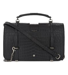 SAINT LAURENT Charlotte large crocodile-embossed leather shoulder bag